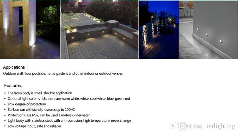 Garden ground 1W LED Underground Lamp Arc Waterproof IP67 Outdoor Floor Lamp Stainless Steel Brick Recessed Stair Lighting
