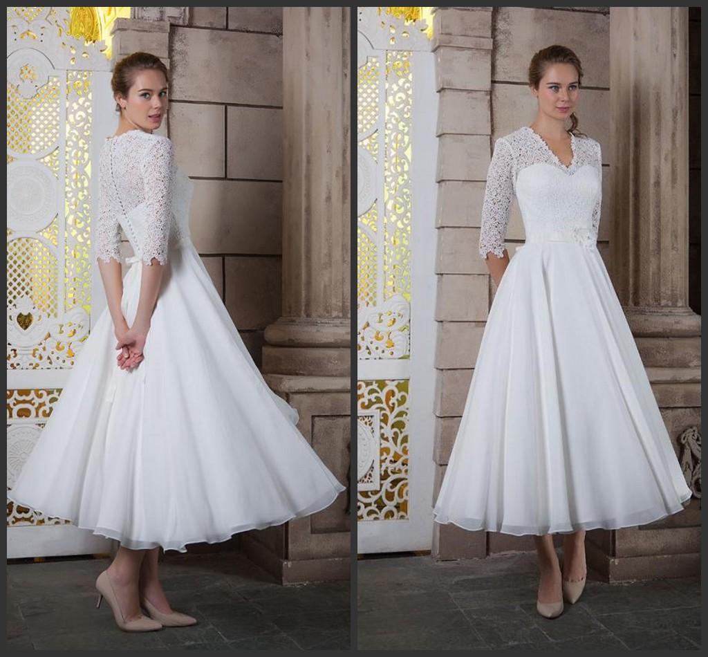 Discount White Rose Short Wedding Dresses Tea Length Kr 2016 A Line V Neck 1 2 Lace Sleeves Flower Sash Bridal Gowns Covered Button Dress Shops