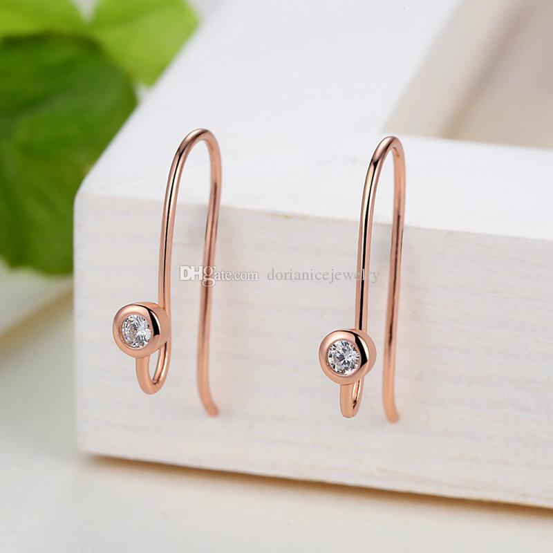 Genuine 925 Sterling Silver Posts Earrings in Rose Golden with Clear CZ Fashion Hoop Stud Earrings for Women ER060
