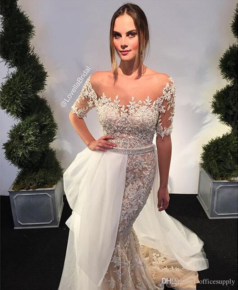 쉬어 O 넥 쇼트 슬리브 아이보리 오버 샴페인 레이스 탈착 가능한 얇은 명주 그물 세공 드레스와 함께 머메이드 웨딩 드레스 크리스탈 새시 환상