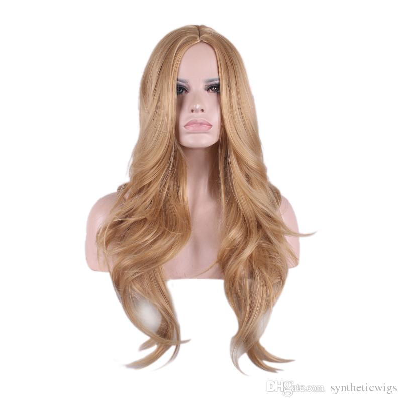 WoodFestival long blonde loose wave wigs heat resistant women hair wigs synthetic fiber American white women wig