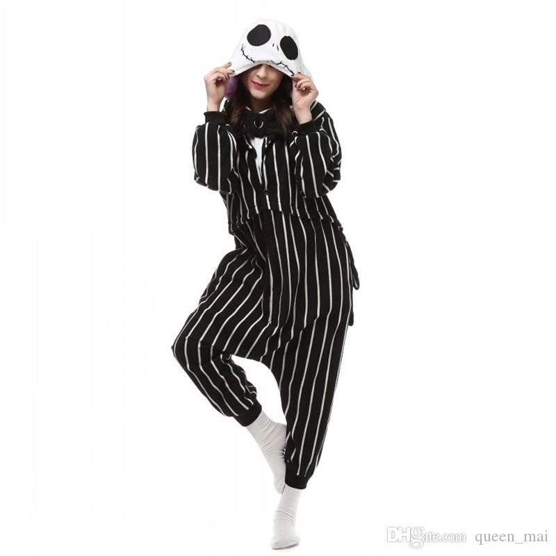 Cosplay Anime Kabus Önce Noel Jack Skellington İskelet Kostüm Onesie Parti Noel Pijama Artı Boyutu S-XL Tulum Ücretsiz