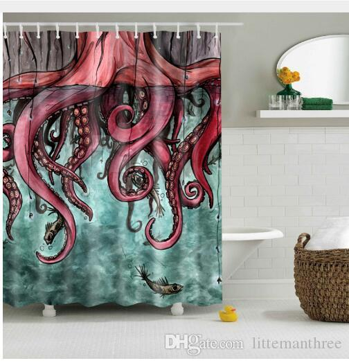 2018 Svetanya Comic Octopus Print Shower Curtains Bath Products Bathroom Decor With Hooks Waterproof 180x180 Cm From Littemanthree 2513