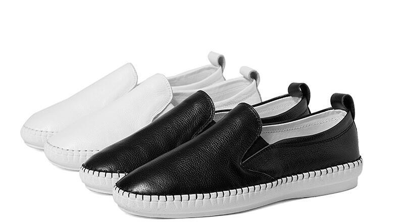Mocassini donna estate Casual Flats Heels Round Toe Mocassini in bianco e nero Scarpe Pure Color Fashion Donna Scarpe All Size