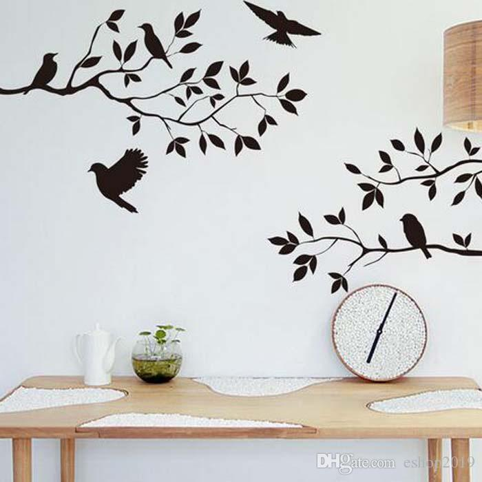 2016 Tree Branch and Birds Vinyl Art Wall Decal Removable Wall Sticker Home Decor wallpaper mural