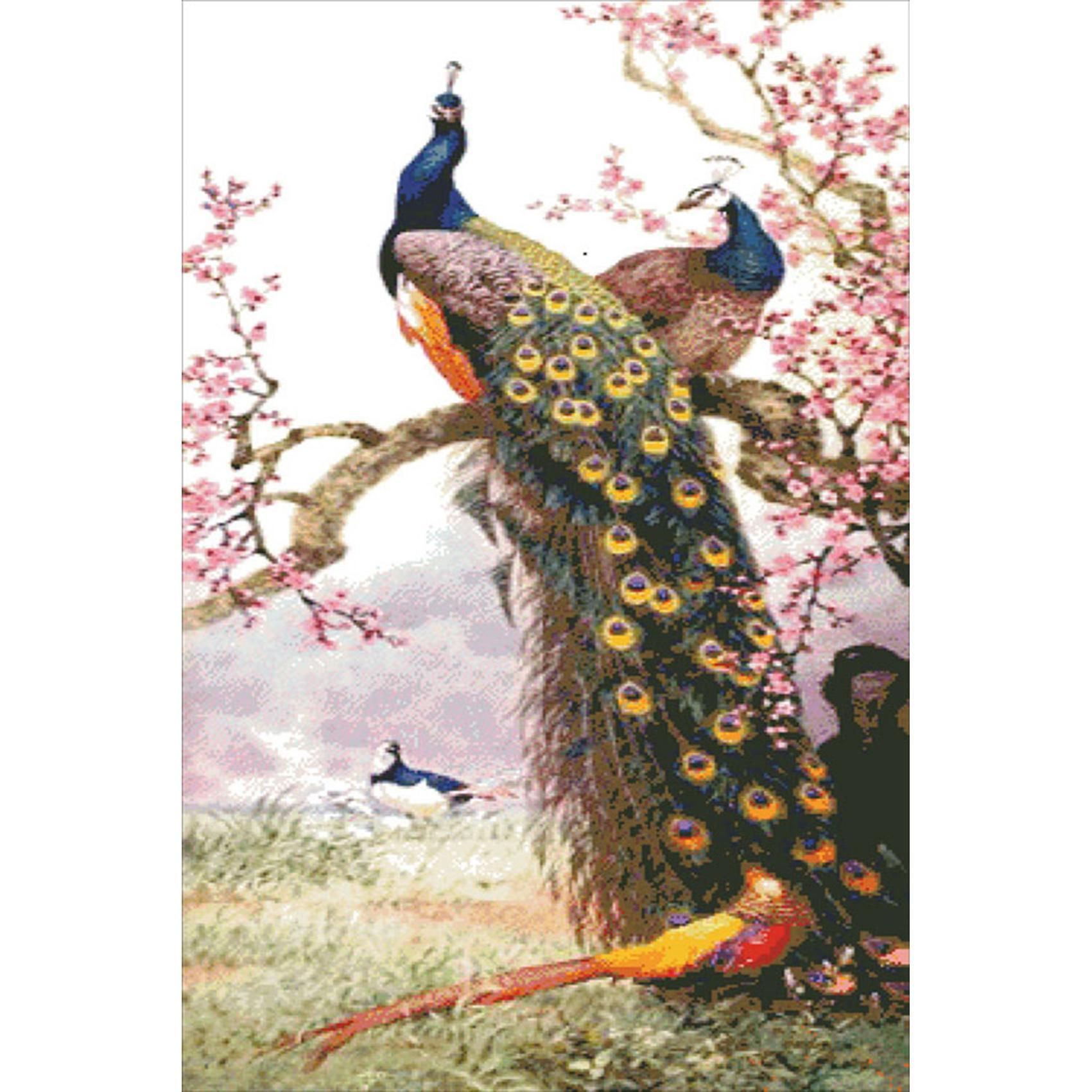 Satın Al Diy Elmas Boyama Erik çiçeği Tavuskuşu Yapıştırılan Resim