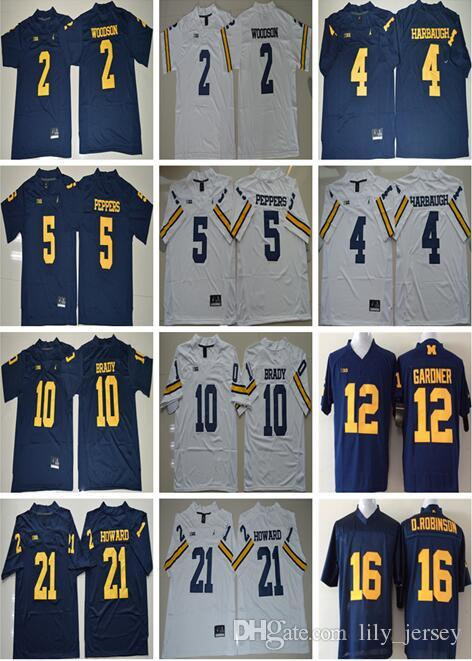 2019 NCAA Michigan Wolverines Football 10 Tom Brady College Jerseys 2  Charles Woodson 4 Jim Harbaugh Jersey 5 Jabrill Peppers 21 Desmond Howard  From ... 9669497bf