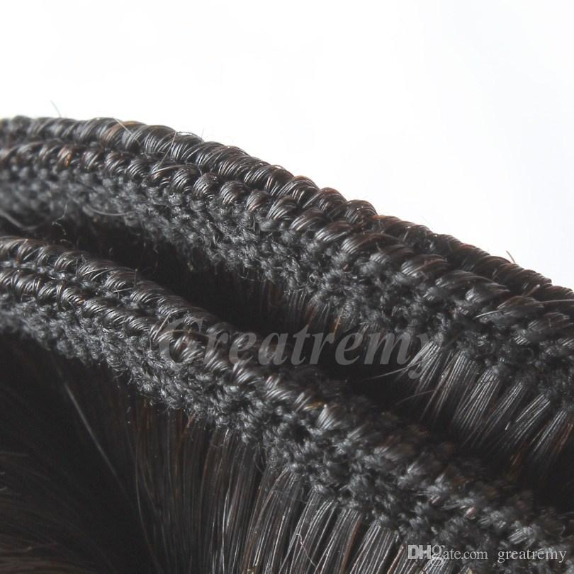 4ピース/ロットストレートブラジル髪の毛深いシルクベースの閉鎖ブラジルのレミーのヘアバンドル4x4レースの閉鎖withbabyhair greatremy