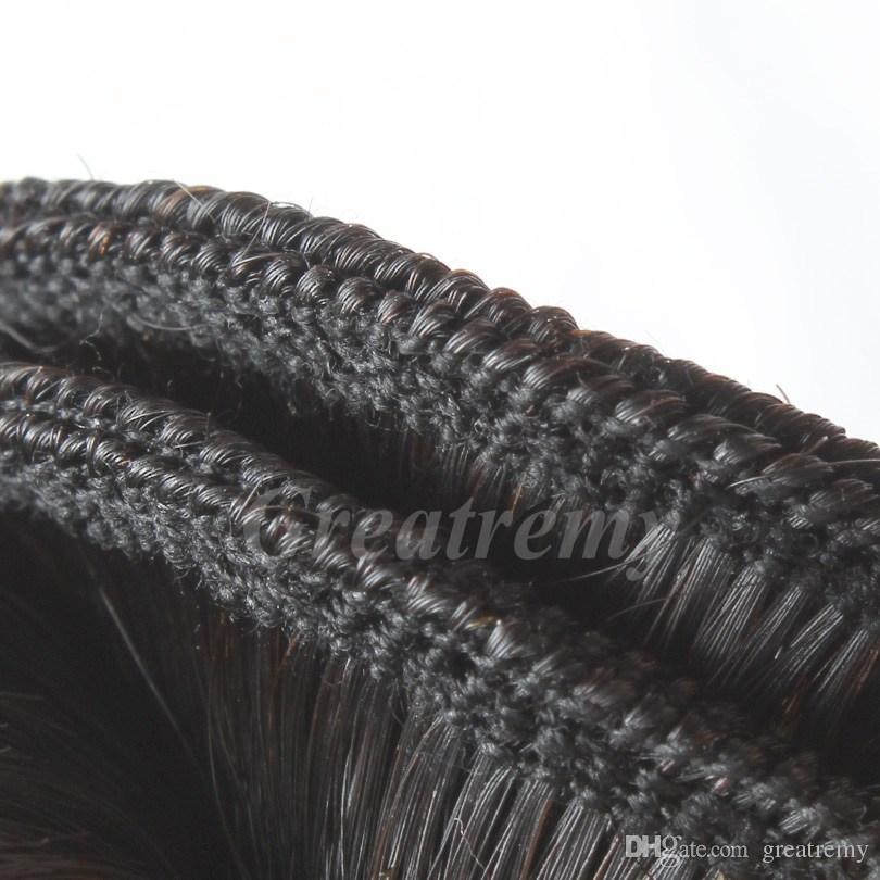 4 stks / partij Straight Braziliaans haar inslag met zijde Basissluiting Braziliaanse Remy Hairbundles 4x4 Kantsluiting met BabyHair Greatremy