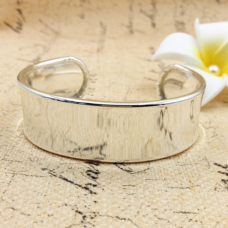 of Fashion Bright Silver Smooth Wide Cuff Bangles Bracelets for sale