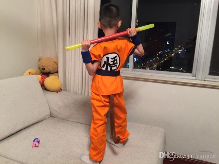 2016 Costumes d'Halloween Costume de Dragon Ball Z DBZ Fils Goku Costume Vêtements Cosplay pour Enfants Haut / Pantalon / Ceinture / Queue / Poignet CS002