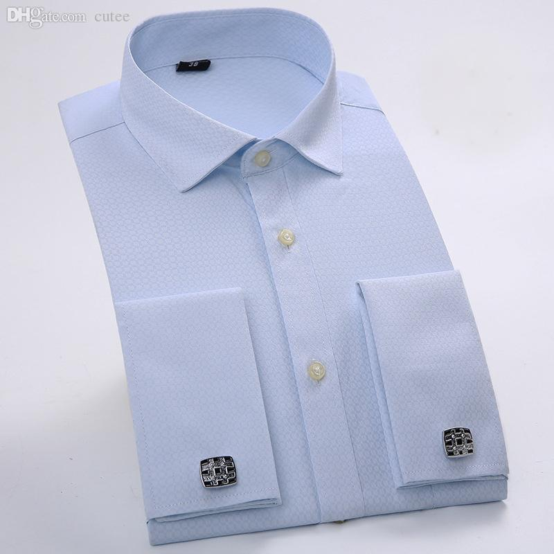 2018 wholesale send cufflinks mens french cuff shirts for French cuff shirts cheap