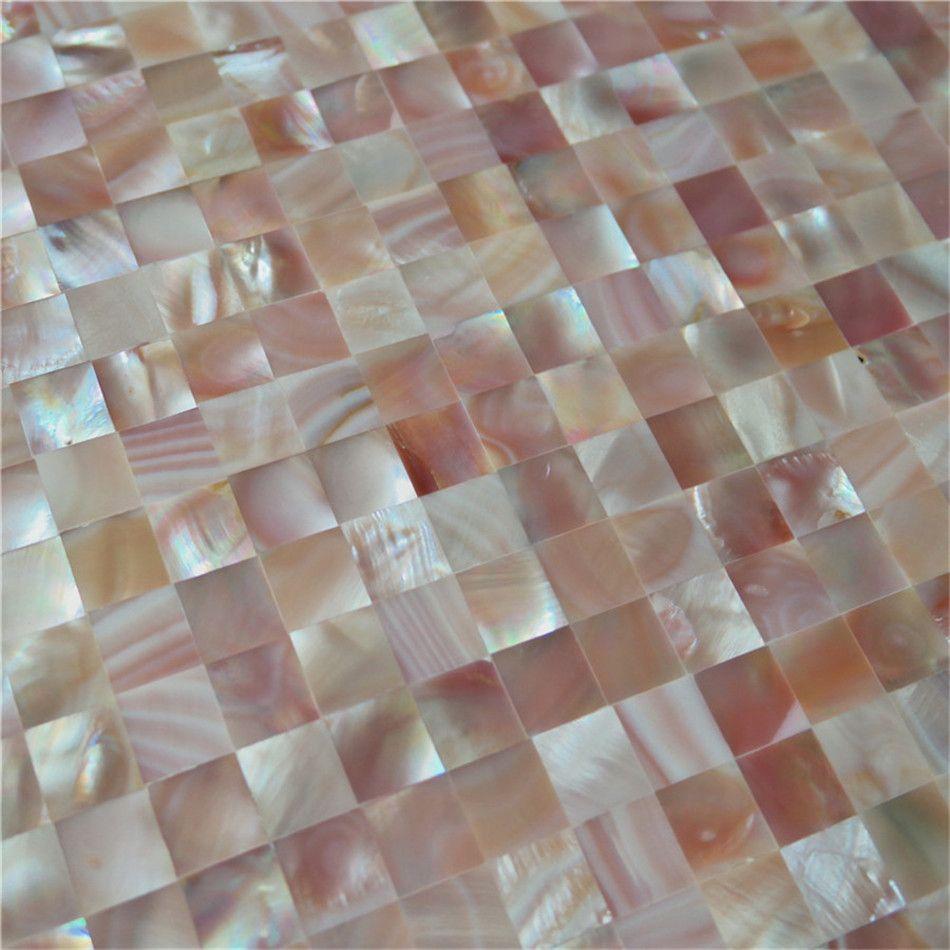 мать раковины моря плитки мозаики перлы для нутряной плитки стены ванной комнаты и кухни украшения дома 12.5x12.Цвет 5mm естественный розовый