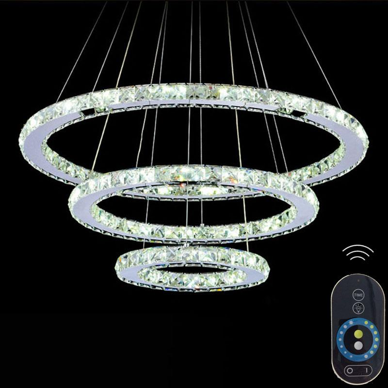Vallkin dimmable led pendant lights crystal chandeliers round rings vallkin dimmable led pendant lights crystal chandeliers round rings lighting fixtures modern silver dinning room hanging lamps diy style outdoor mozeypictures Gallery