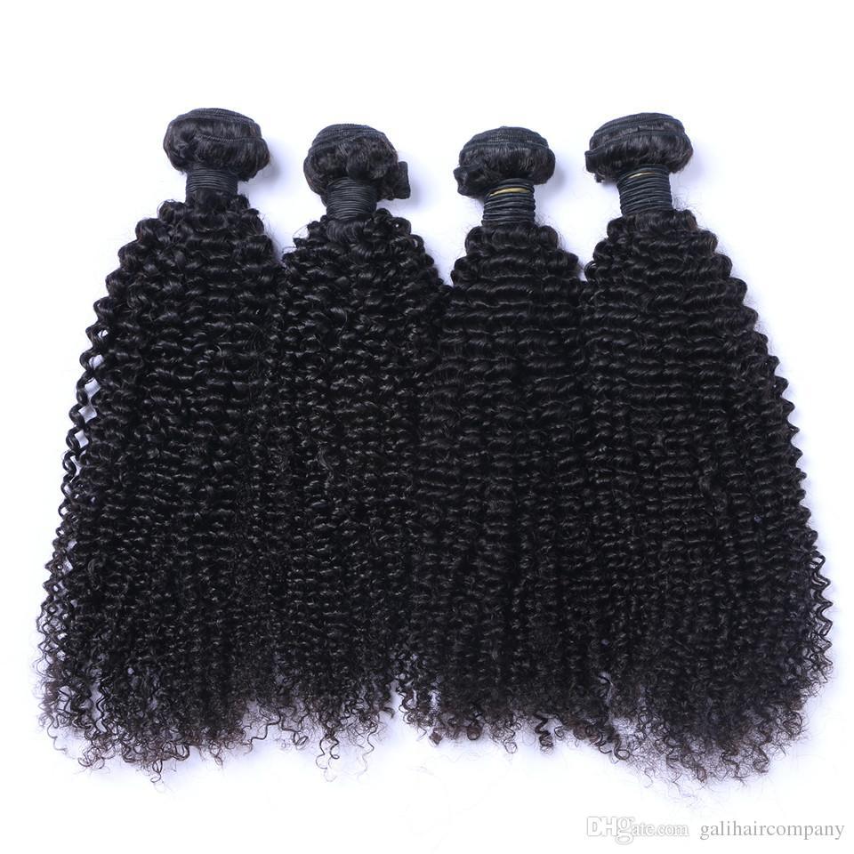 Venda quente Qualidade Brasileira Kinky Curly Não Transformados Extensões de Cabelo Humano 8-30 polegada Natural Cor Negra Dyeable 4 pçs / lote Frete Grátis DHL