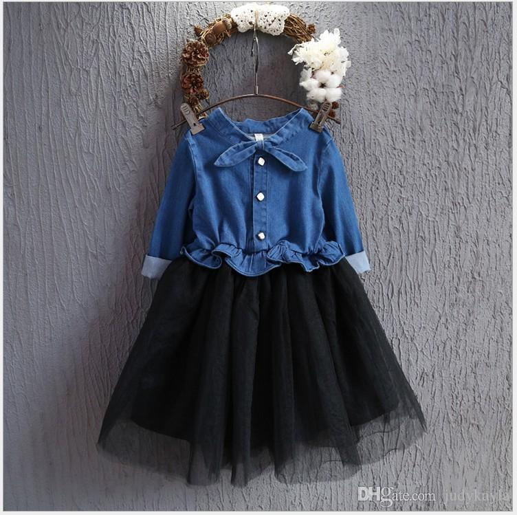 2884b4dff3 2016 New Autumn Cute Girl Stitching Denim Lace Tulle Dress Children Long  Sleeve Tutu Skirts Korean Style Kids Cowboy Stitching Dresses 2016 New Girl  Denim ...