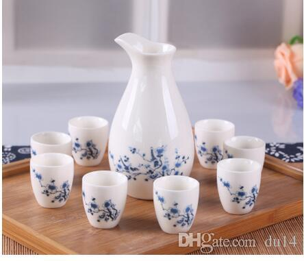 Cups Ceramics Wine Pot Set decoration Home Japanese Pottery Porcelain Sake Set Hand Painted Wine Cup Sake Pot Cups Set Kitchen Dining