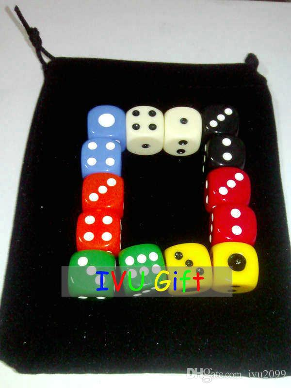 20pcs 16MM Table D6 DICE 7 colors mixed special game party machine Children dices bosons IVU