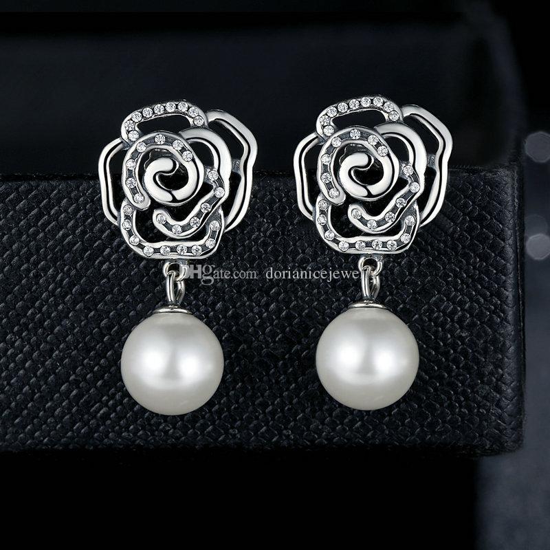 Autentici orecchini floreali femminili in argento sterling 925 con orecchini di perle coltivate d'acqua dolce di rosa bianca ER034