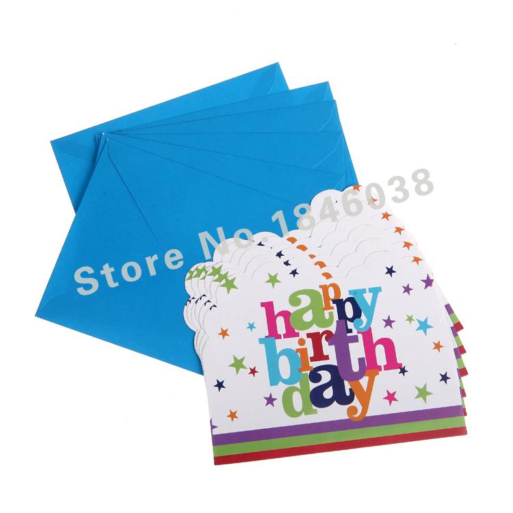 Wholesale Envelop Shape Happy Birthday Theme Party Invitation Card Kids Baby Festival Decoration Supplies Mail Cards