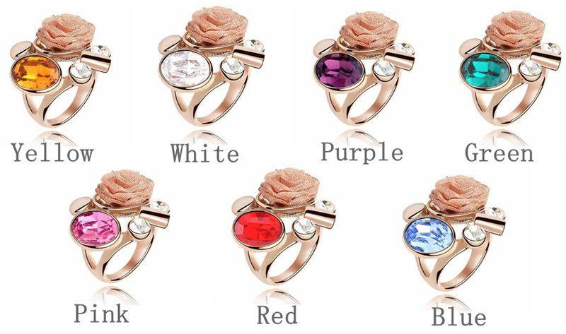 Matrimonio di cristallo austriaco e anello di fidanzamento in oro rosa placcato realizzato con elementi di cristallo Swarovski Anelli di fiori Gioielli di moda vintage 4669