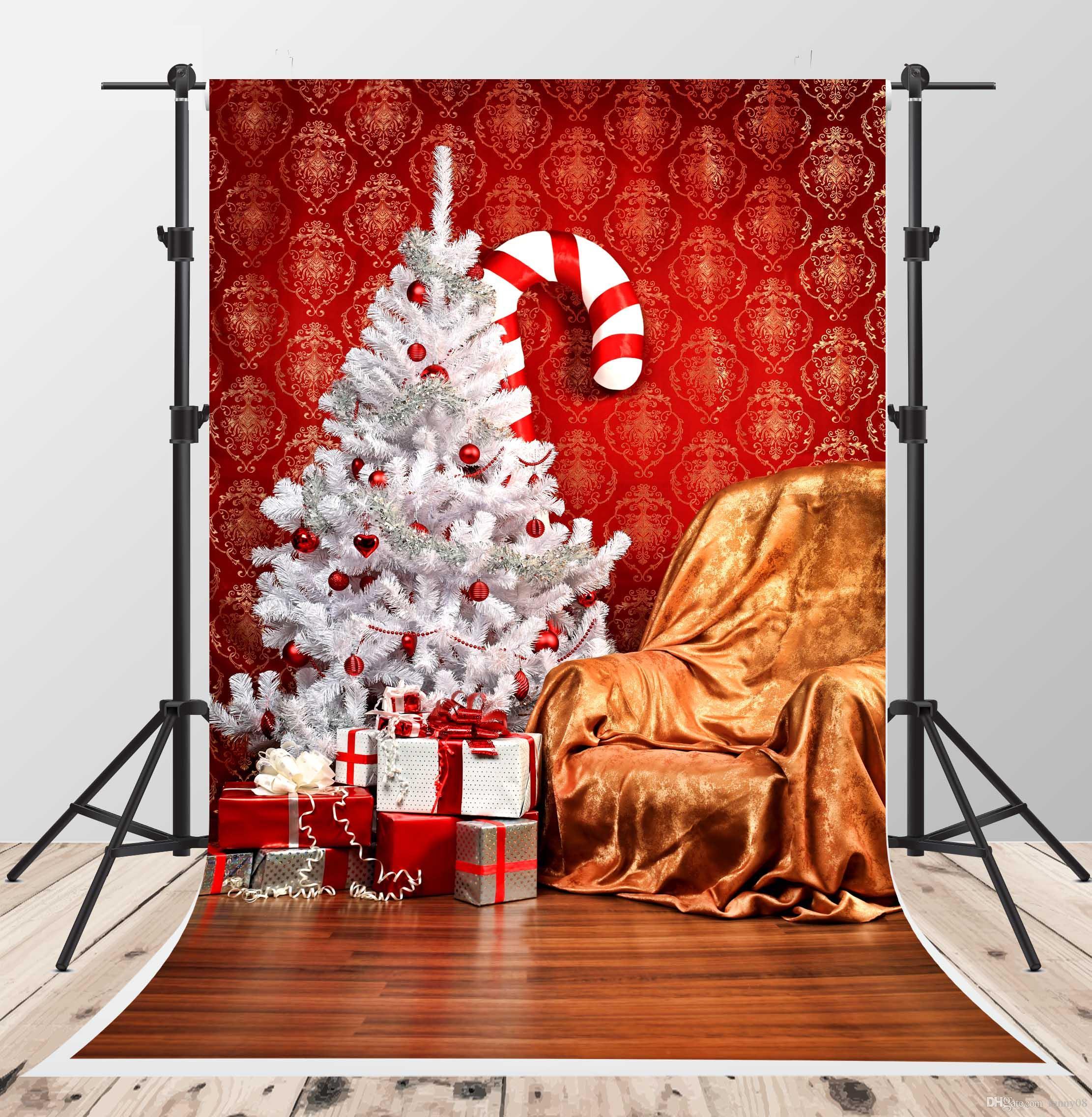 2018 White Christmas Tree Photo Backgrounds Wood Floor
