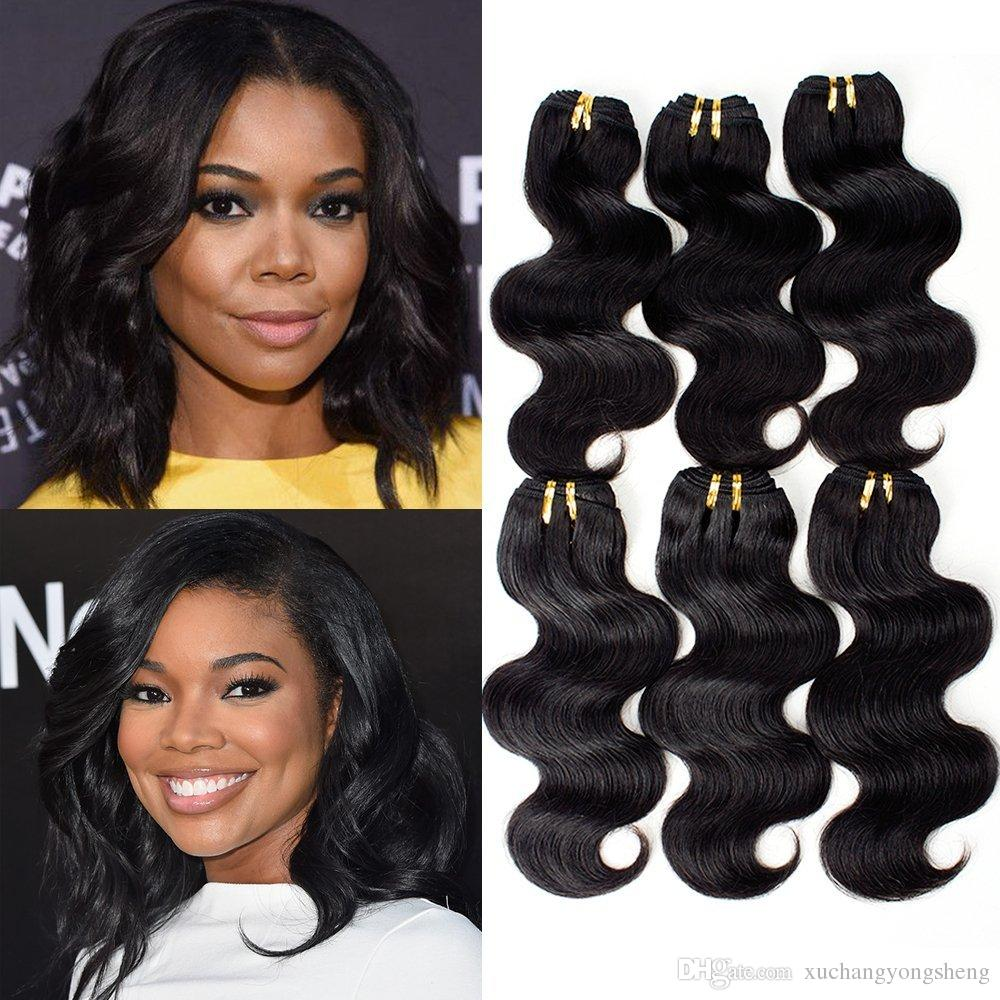 7a grade brazilian virgin hair body wave 8 inch short black weave 6 bundle  deals human hair weave extensions unprocessed remy hair products