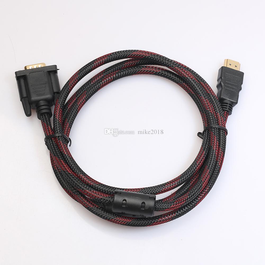 Alta calidad de 1,5 m 5 pies HDMI a cable VGA Adaptador de video macho a macho para HDTV HD Reproductor Cable HDMI Adaptador