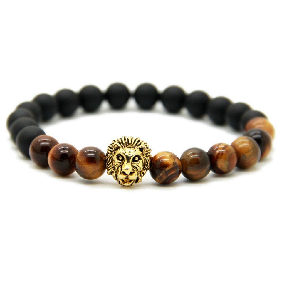 Nuevo diseño para hombre pulseras al por mayor 8 mm natural ojo de tigre y cuentas de piedra de ágata mate oro cabeza de león pulseras, regalo de fiesta