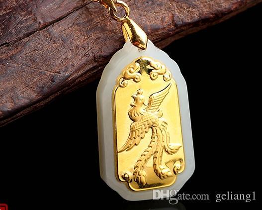 Lucky gold embutidos pingente de jade retângulo longfeng amantes. Pingente de colar.