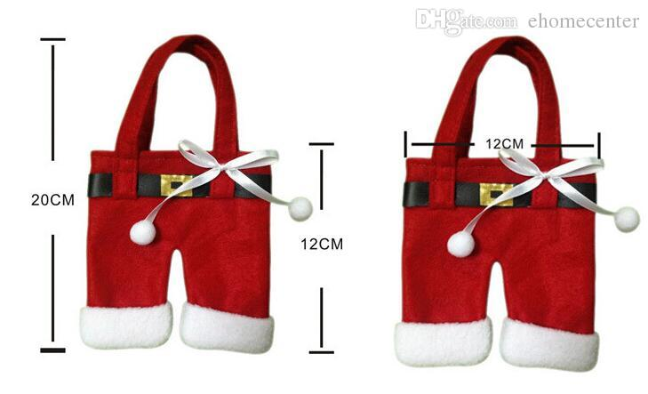 Santa Spoon clothing Father Christmas Costume Cutlery Tableware Holder Fork Spoon Knife Bag Cover Decor Suit Table Decorations HQ019