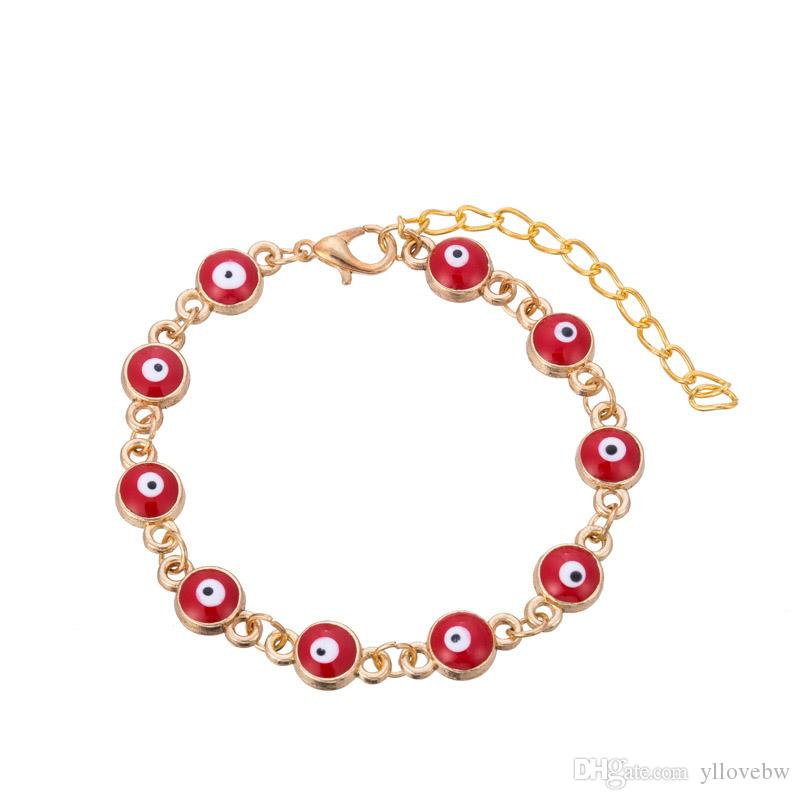 Cheap Sale Gold Plated Evil Eye Bracelet for Women Red Blue Green Bead Bracelet Turkish Lucky Jewelry Alloy Chain Accessories