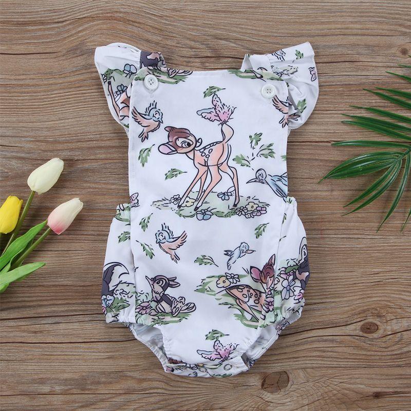 2017 Ins Hot Sale Baby Cute Cartoon Deer Romper Newborn Girl Boy Cotton Ruffle Suspender Babygrows Jumpsuit Clothes