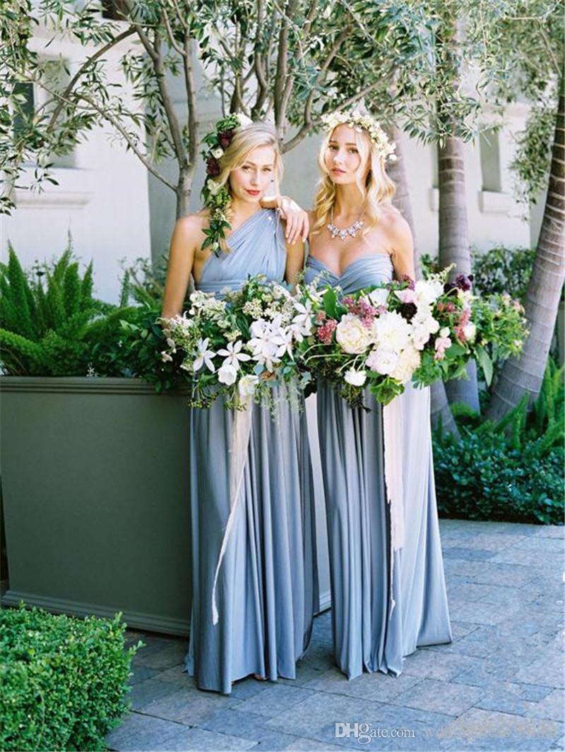 2019 novo empoeirado azul Covertible da dama de honra vestidos de plissado até o chão país casamento da praia convidado vestidos de festa baratos longos vestidos de baile