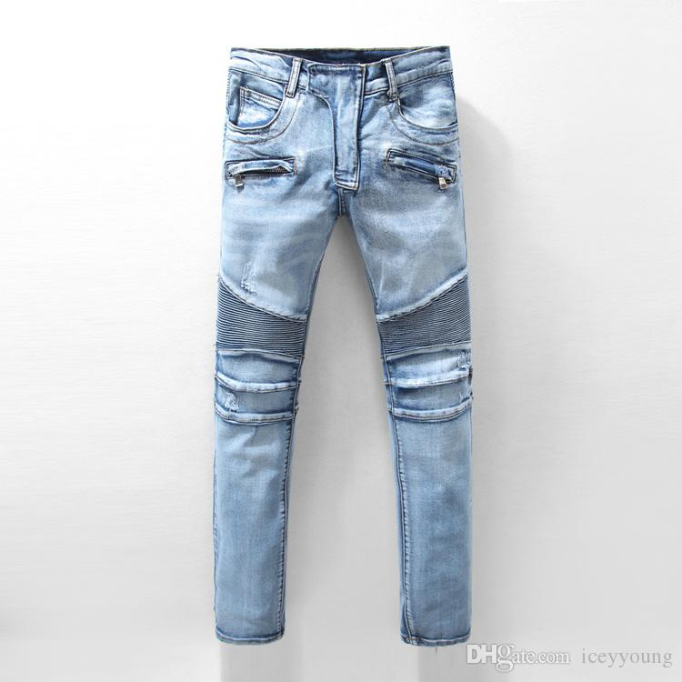 2018 New Arrival Slim Fit Fashion Patchwork Denim Ripped Legs Zipper Skinny Jeans For Man Designer Pencil Pants Top Quality Men's Clothing
