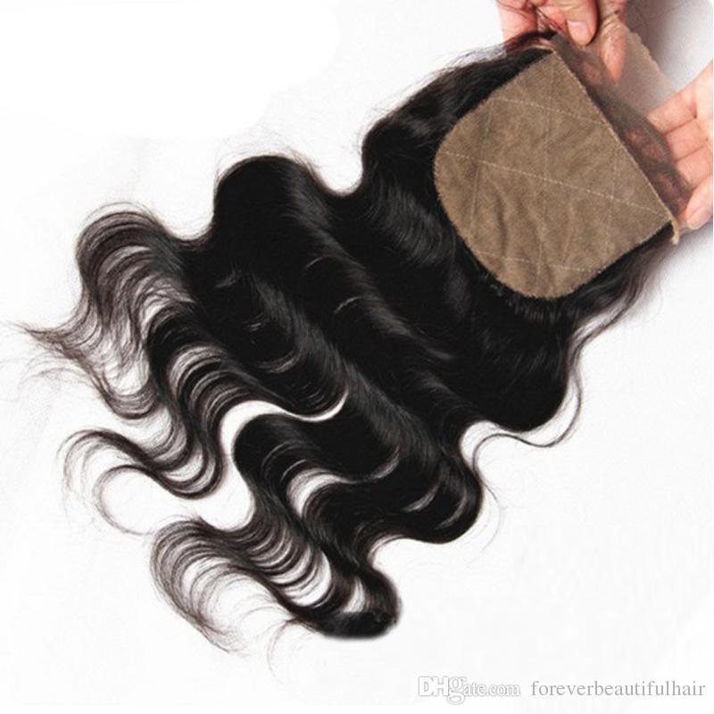 Cierre superior de seda brasileño 4 * 4 cierre de encaje de seda recta con pieza libre de pelo de bebé pieza de cierre de cabello 100% humano