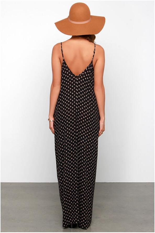 Plus Size Long Dresses Women Loose Polka Dot Printing Sleeveless Casual Fashion Party Clothing Summer Maxi Dresses