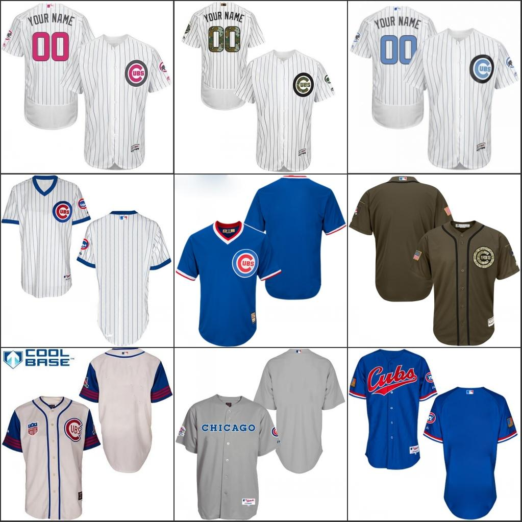 new arrival 59190 0d20c mens chicago cubs customized blue throwback jersey