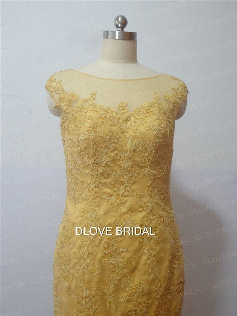 Dream Illusion Gold Lace Wedding Dress with Detachable Train Skirt Two Way Bridal Dresses Vestido De Novia Vestidos Casamento Real Photos