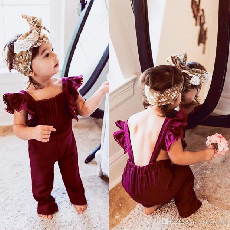 dc740483031 Summer Kid Baby Girls Clothes Flying Sleeves Ruffles Backless Velvet  Overalls Romper Jumpsuit Fashion Playsuit Bib Pants Toddler Outfits Set  Babies ...