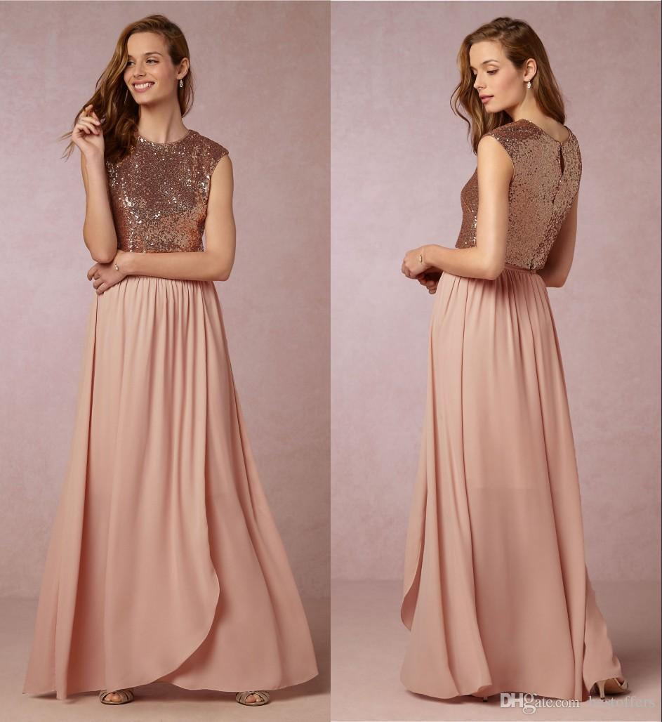 Two pieces sparkling bridesmaid dresses 2016 sequins top a line two pieces sparkling bridesmaid dresses 2016 sequins top a line chiffon skirt summer boho maid of honor gowns formal wedding guest dresses short gowns teen ombrellifo Image collections