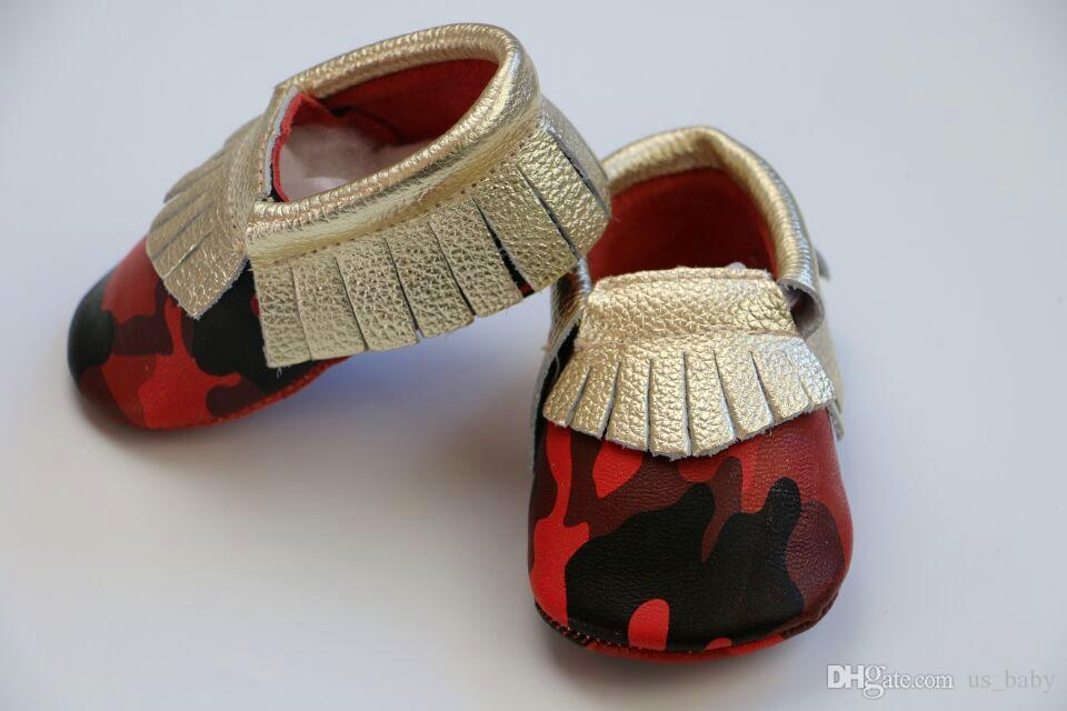 10.5-15.5cm Baby camouflage with gold leather shoes soft sole red / blue patchwork shoes baby moccasins leopard Moccs Fedex UPS free 6size