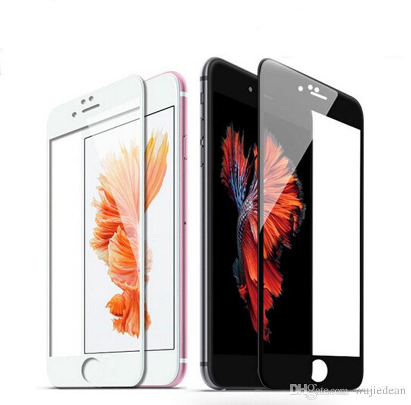 Para iphone 7 filme de vidro temperado 3D curvo de fibra de carbono macio filme de carbono proteção da membrana do telefone