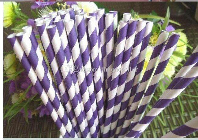 Wholesale - Via Fedex/EMS, Stripe Paper Drinking Straws Polka Dot Chevron Star For Party Decoration mixed Colors,