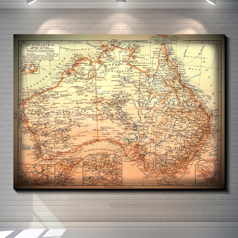 Vintage Old maps of Australia in 1905 Pictures Painting Canvas Poster Painting Print Hotel Bar Garage Living Room Wall Home Art Decor Poster