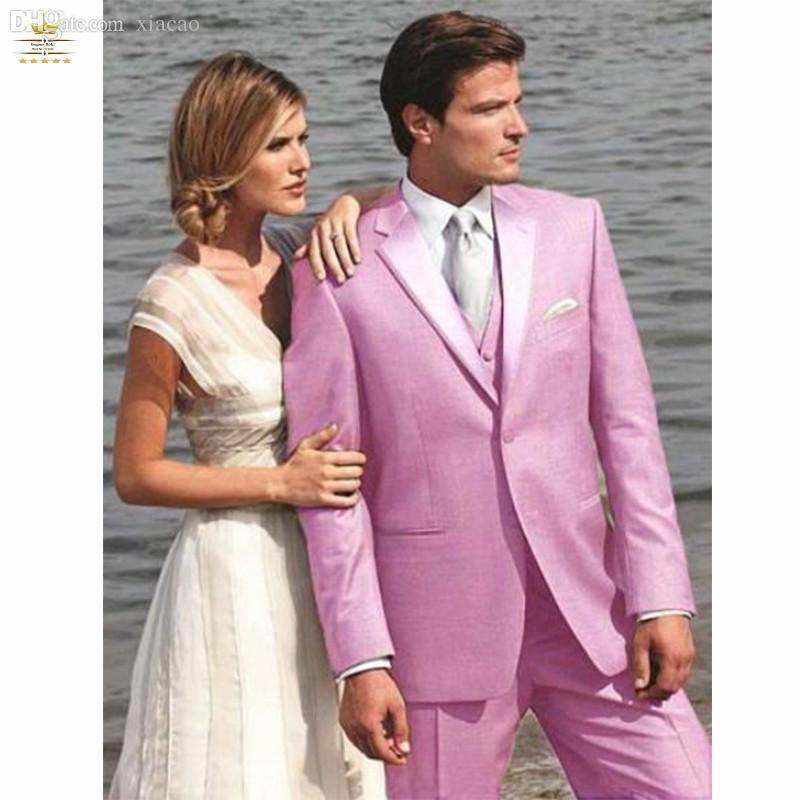 2018 Wholesale Two Button Pink Groom Tuxedos Groomsmen Men\'S Wedding ...