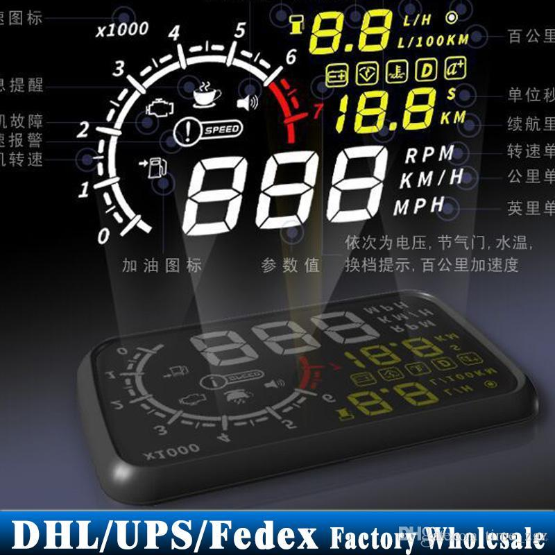 (Wholesale) 10PCS 2015 5.5' HUD Head-up Display OBD Ii Obd2 Car Kit Car Styling Monitor Overspeed Warning Km/h