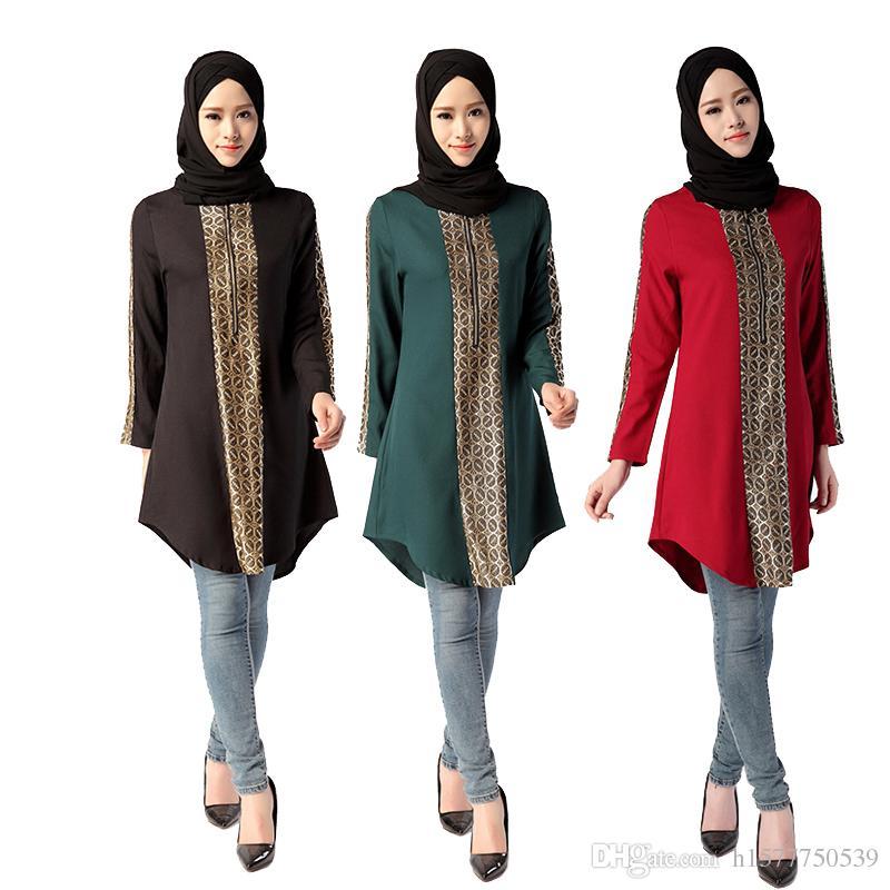 ebdebc4ac1a1 Compre 2016 Nueva Musulmán Camisa Larga Turca Mujeres Blusa Ropa Mujer  Islámica Tops Musulmane Dubai Kaftan Señora Blusas Árabe Camisas Negras Más  Tamaño A ...