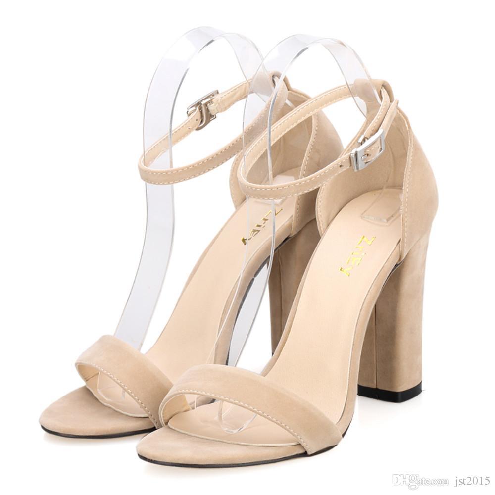 Новые Женщины Насосы Открыть Toe Сексуальные Лодыжки Ремни Туфли На Высоких Каблуках Летние Дамы Свадебные Замши Толстый Каблук Насосы
