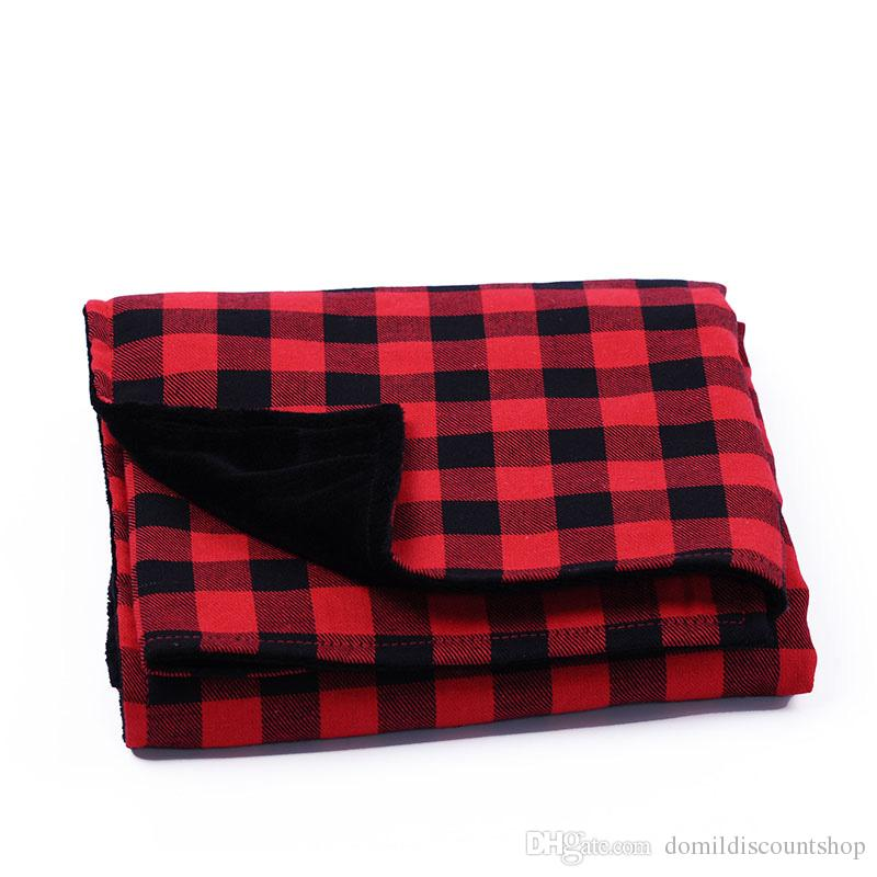 Red Plaid Christmas Baby Blankets with Soft Minky Fabric 70*90 cm Flannel Material Cotton Comfortable Blanket DOM103729